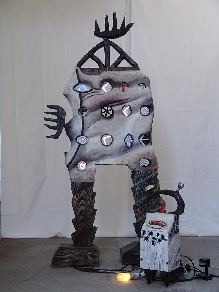 Walking man with power dog